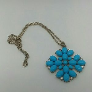 Large Blue Pendant Brass-Tone Necklace